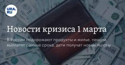 Новости кризиса 1 марта. В России подорожают продукты и жилье, пенсии выплатят раньше срока, дети получат новые льготы