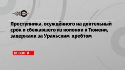 Преступника, осуждённого на длительный срок и сбежавшего из колонии в Тюмени, задержали за Уральским хребтом